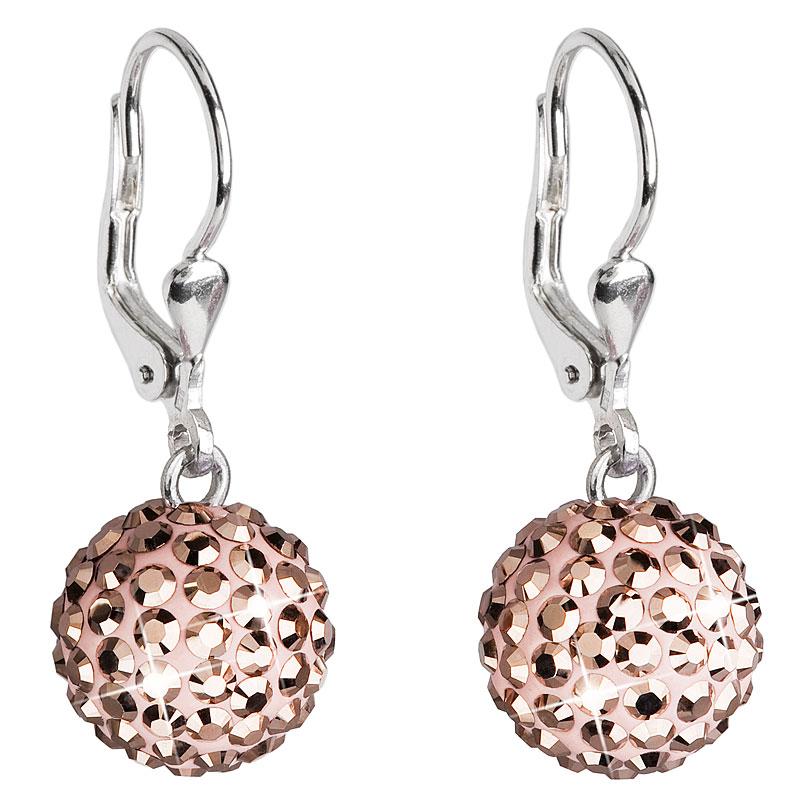 Evolution Group Stříbrné náušnice visací s krystaly růžovo zlaté kulaté 731109.5, dárkové balení