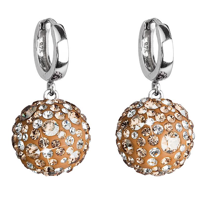 Evolution Group Stříbrné náušnice visací s krystaly Swarovski zlaté kulaté 31116.5, dárkové balení