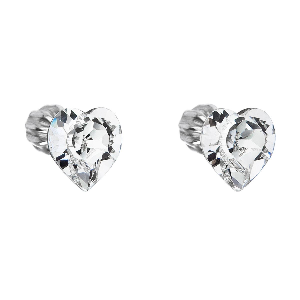 Evolution Group Stříbrné náušnice pecka s krystaly Swarovski bílé srdce 31139.1