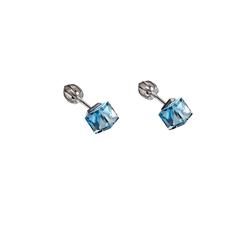 Stříbrné náušnice pecka s krystaly Swarovski modrá kostička 31030.3