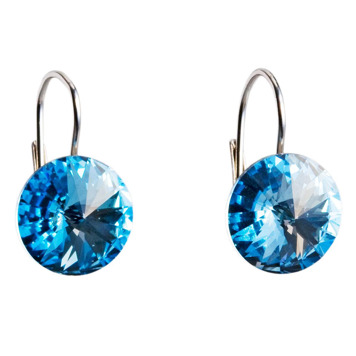 Evolution Group Stříbrné náušnice visací s krystaly Swarovski modré kulaté 31106.3 aquamarine