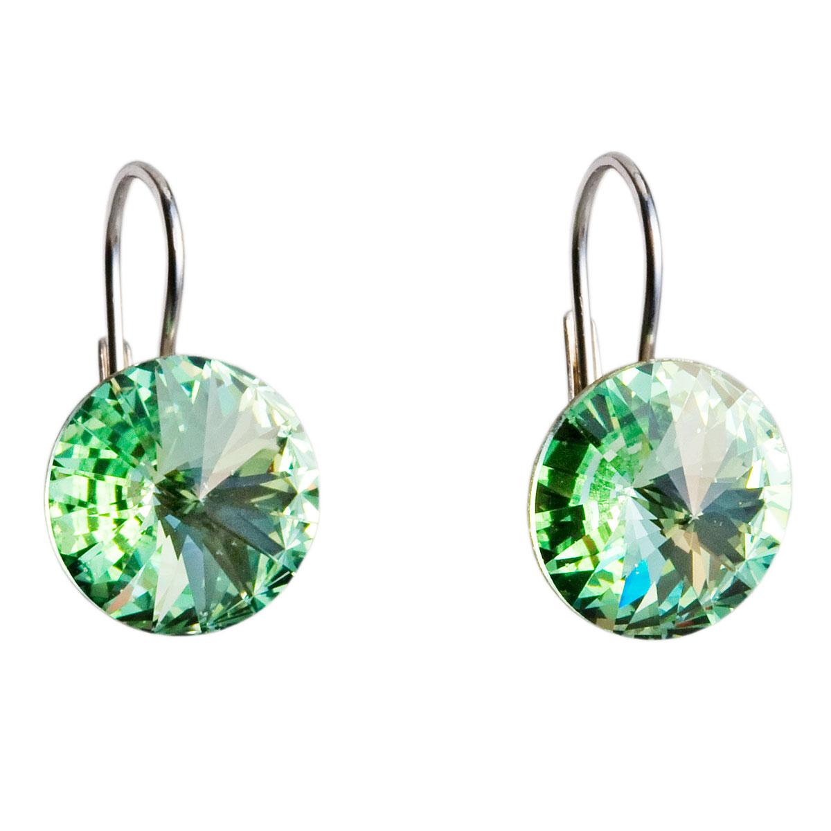 Evolution Group Stříbrné náušnice visací s krystaly zelené kulaté 31106.3