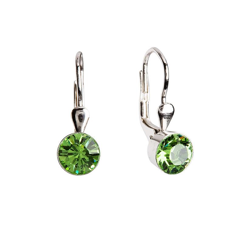 Evolution Group Stříbrné náušnice visací s krystaly zelené kulaté 31112.3