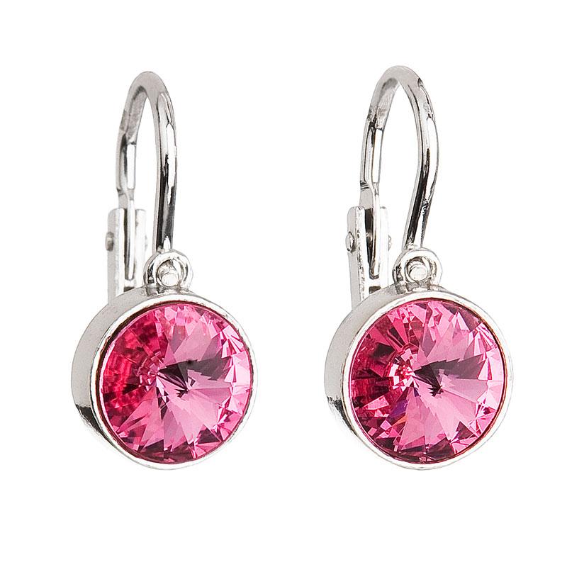 Evolution Group Stříbrné dětské náušnice s krystaly růžové 31126.3