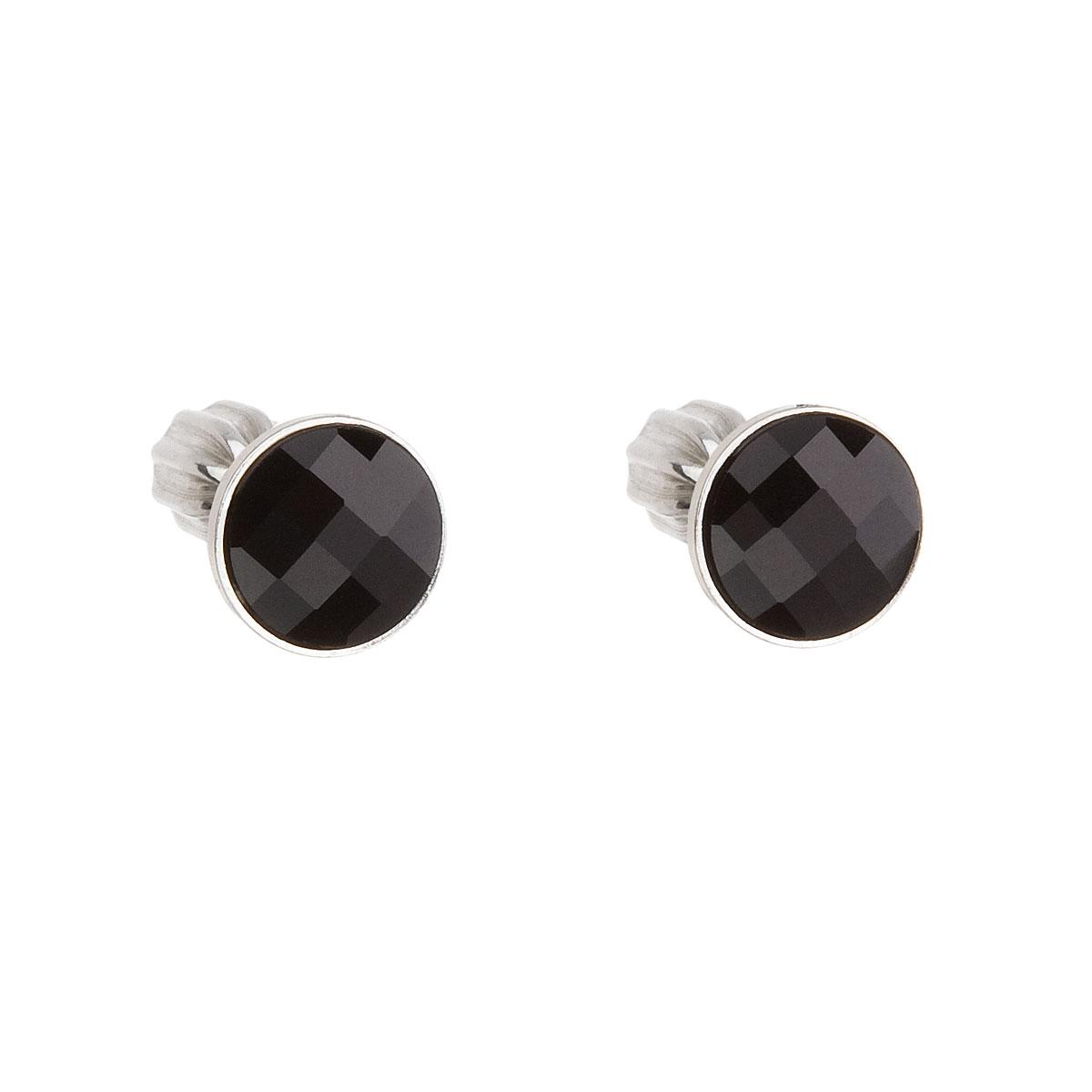 Stříbrné náušnice pecka s krystaly Swarovski černé kulaté 31137.3