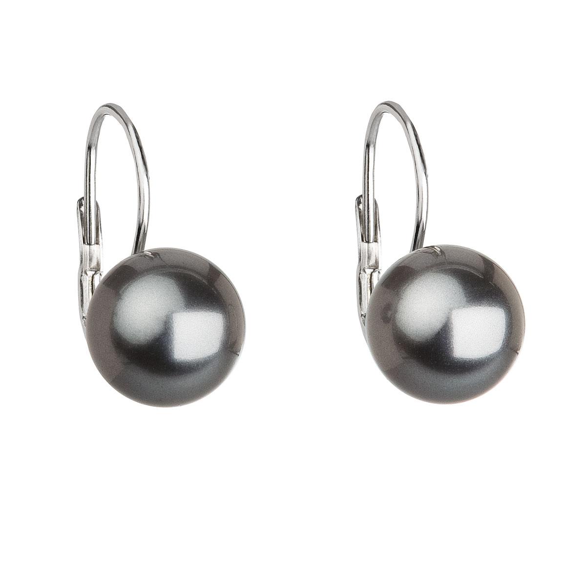 Evolution Group Stříbrné náušnice visací s perlou Swarovski šedé kulaté 31143.3 grey