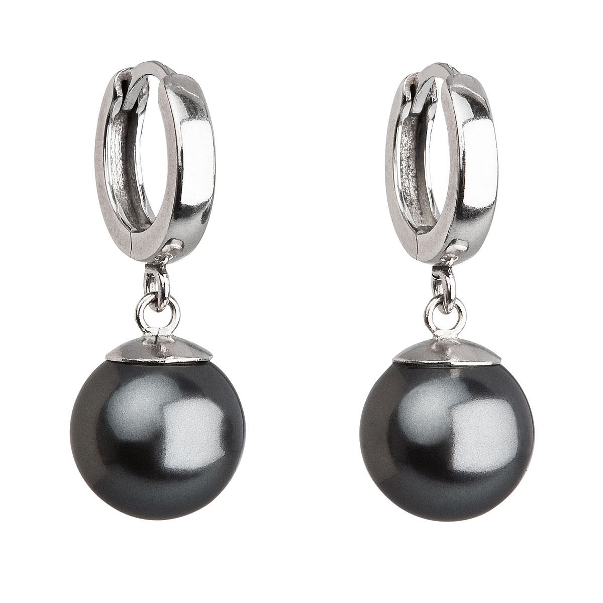 Evolution Group Stříbrné náušnice visací s perlou Swarovski šedé kulaté 31151.3