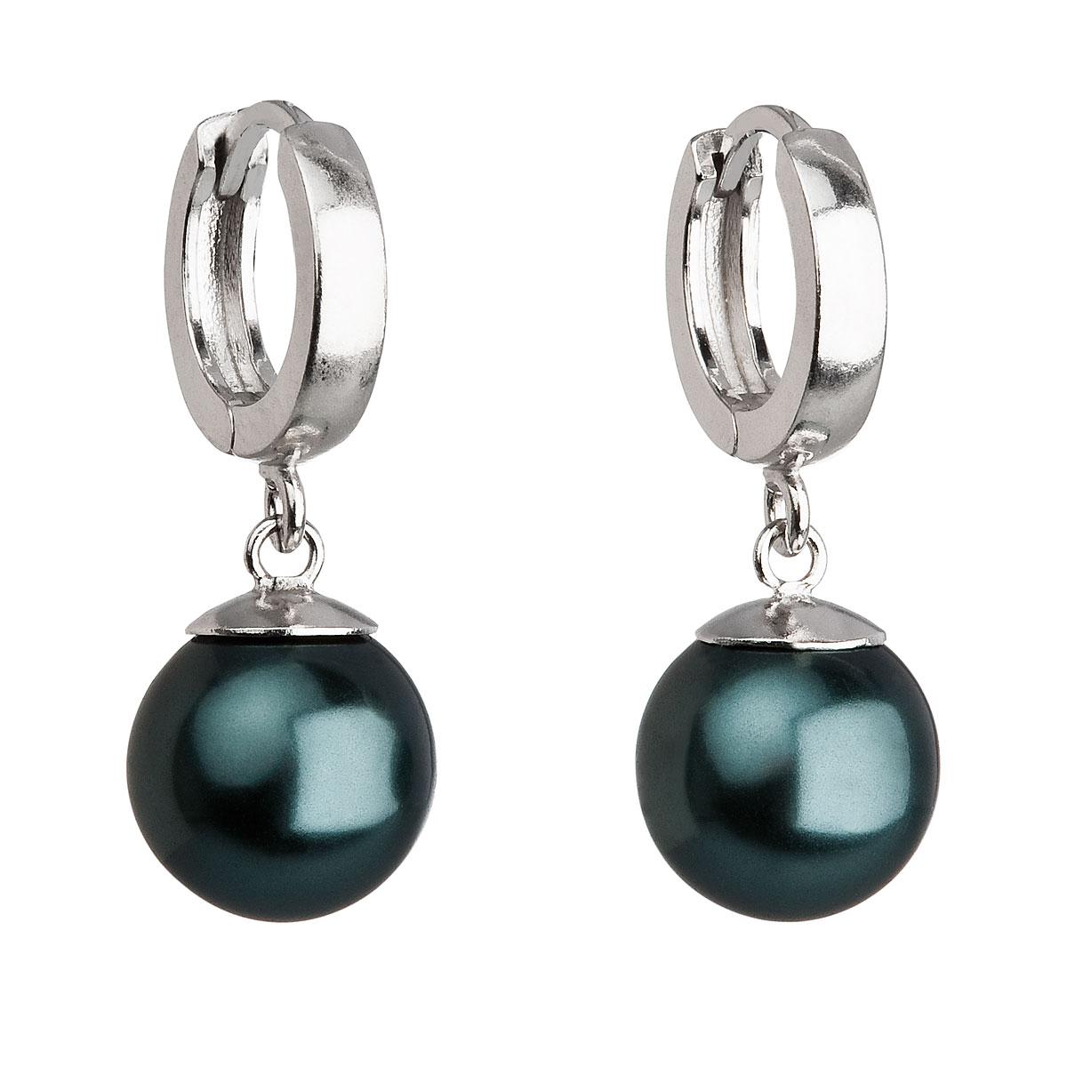 Evolution Group Stříbrné náušnice visací s perlou Swarovski zelené kulaté 31151.3, dárkové balení
