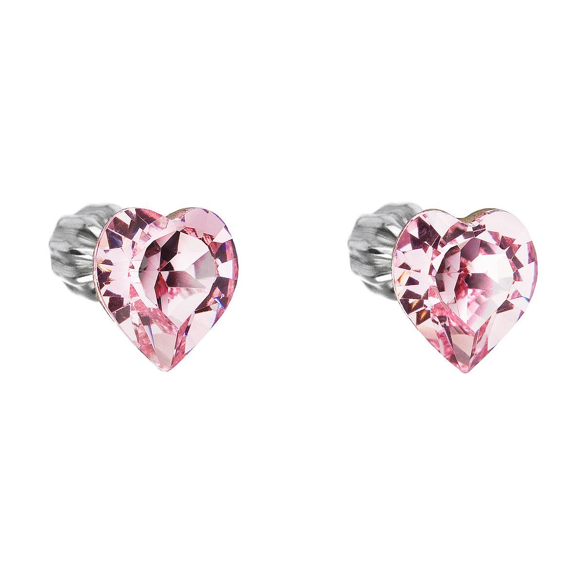 Evolution Group Stříbrné náušnice pecka s krystaly Swarovski růžové srdce 31139.3
