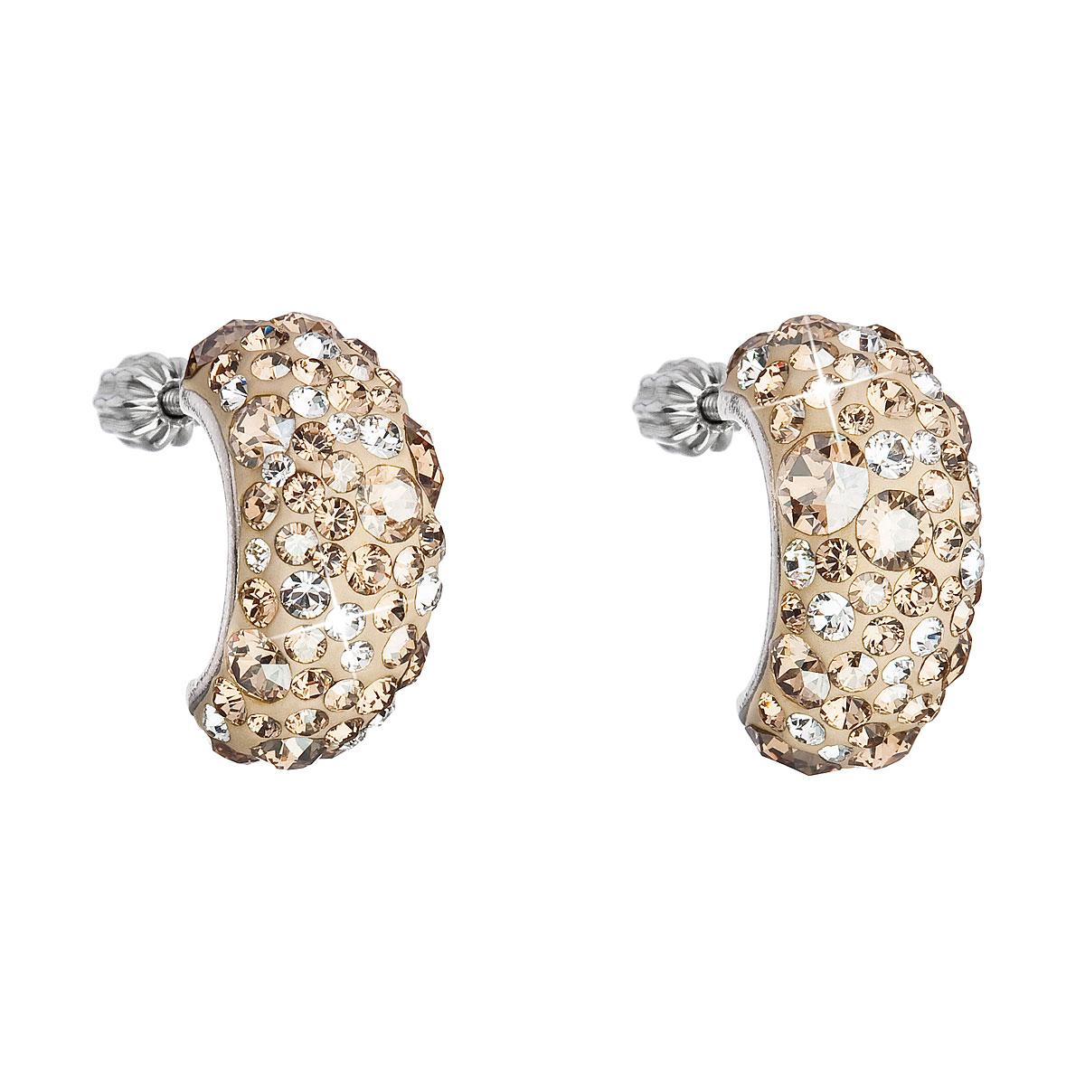 Evolution Group Stříbrné náušnice visací s krystaly Swarovski zlatý půlkruh 31164.5, dárkové balení