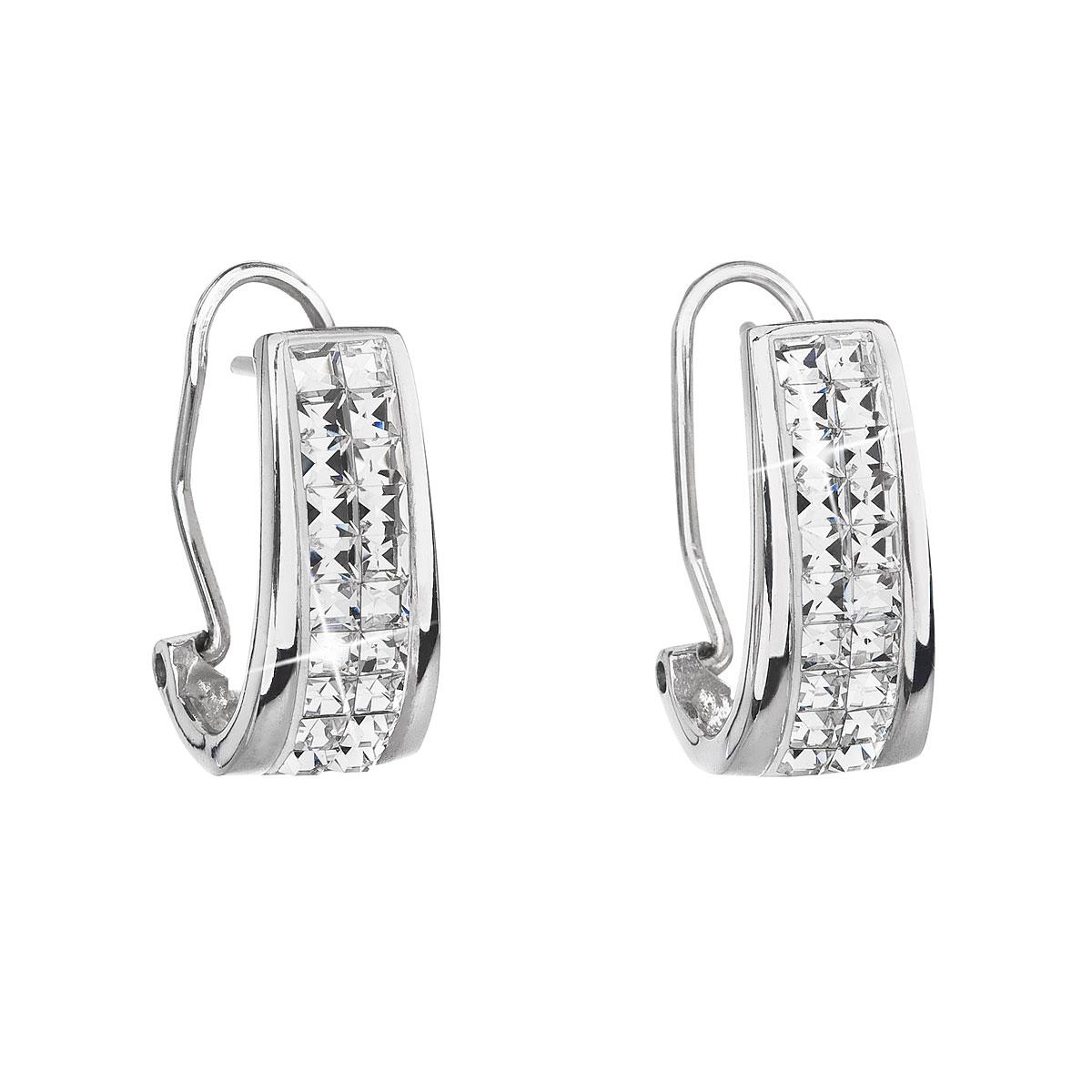 Evolution Group Stříbrné náušnice klipsy s krystaly Swarovski bílý půlkruh  31172.1 c9e8a6c26b8