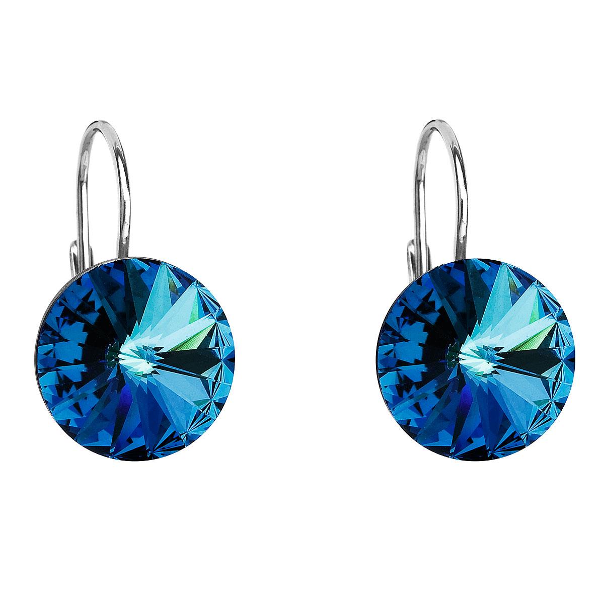 Evolution Group Stříbrné náušnice visací s krystaly Swarovski modré kulaté 31106.5