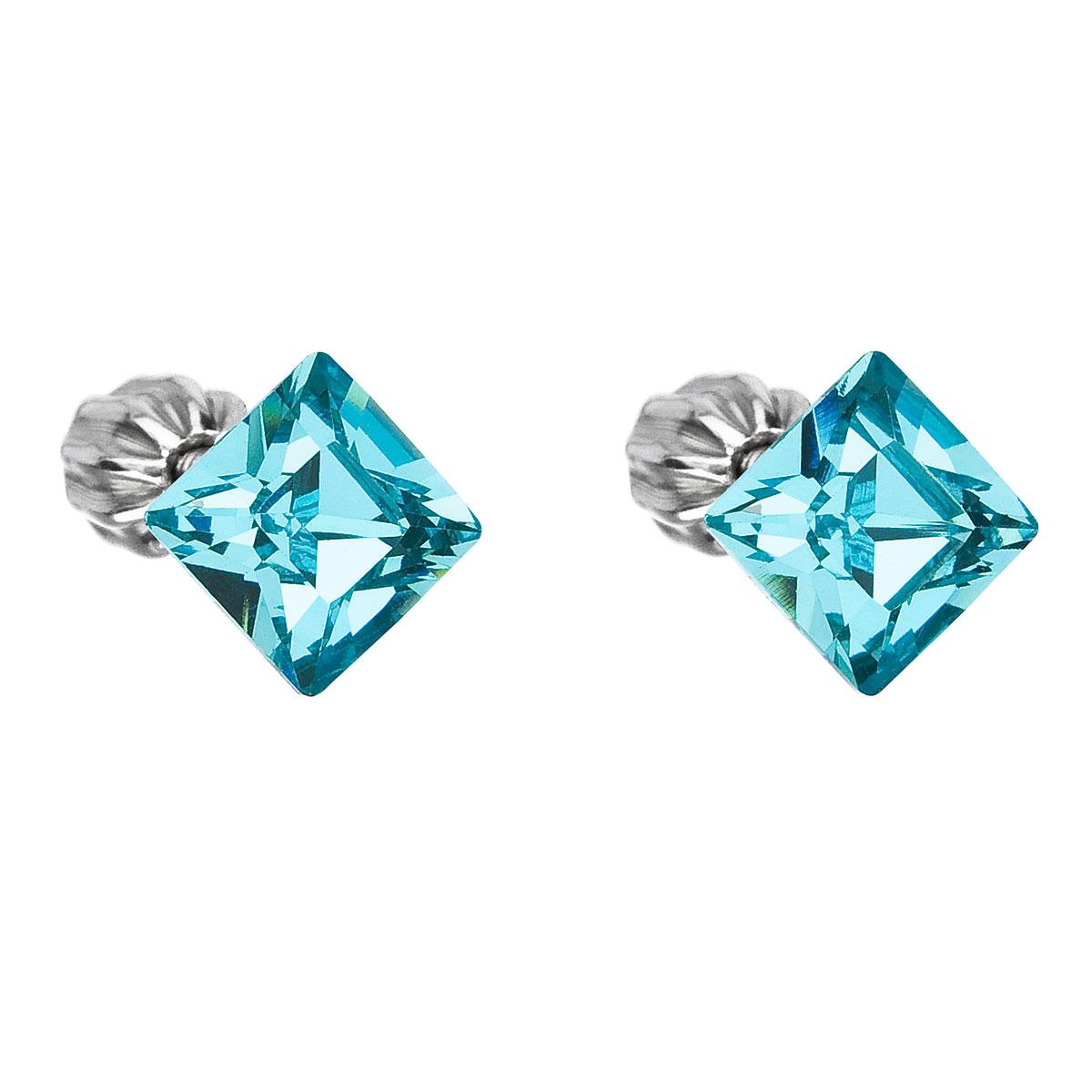 Evolution Group Stříbrné náušnice pecka s krystaly Swarovski modrý čtverec 31065.3 light turquoise