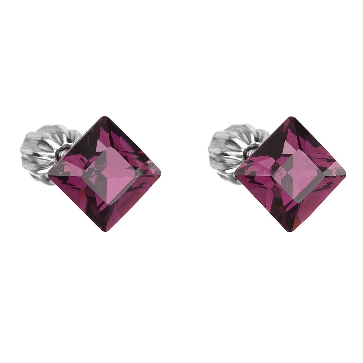 Evolution Group Stříbrné náušnice pecka s krystaly Swarovski fialový čtverec 31065.3