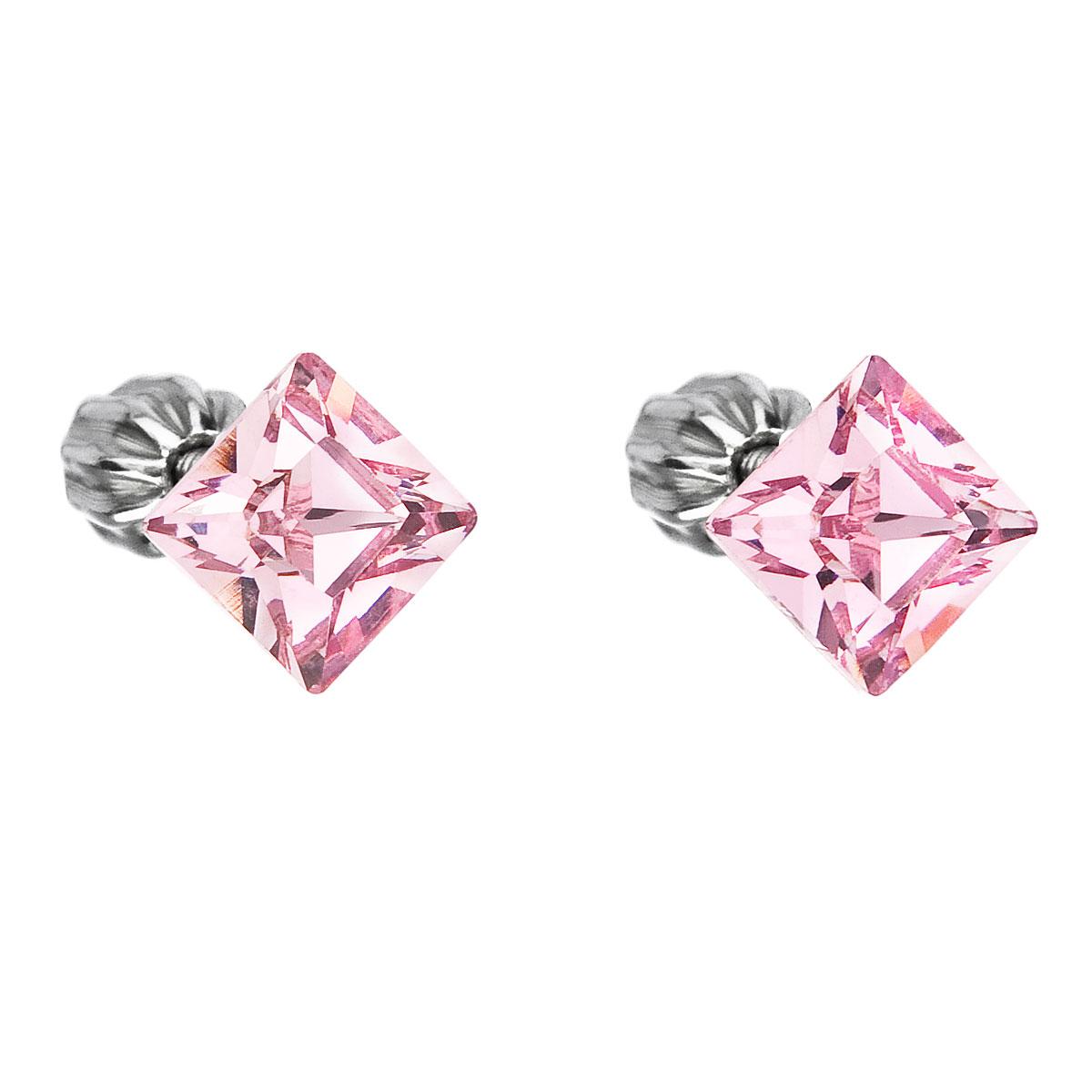 Evolution Group Stříbrné náušnice pecka s krystaly Swarovski růžový čtverec 31065.3