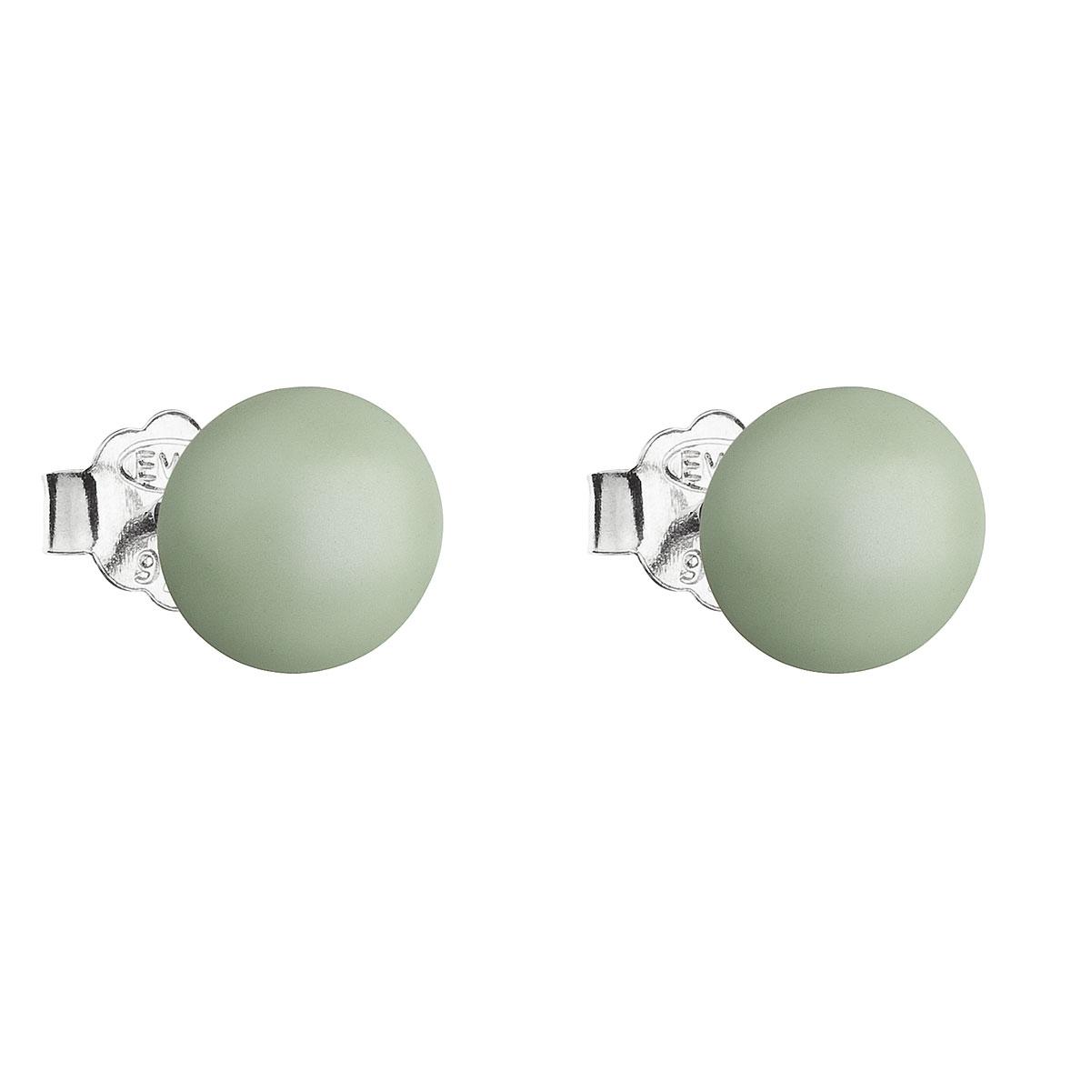 Evolution Group Stříbrné náušnice pecka s perlou Swarovski zelené kulaté 31142.3 pastel green