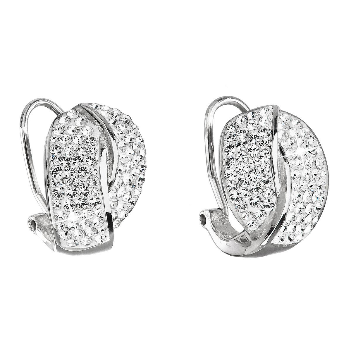 Evolution Group Stříbrné náušnice klipsy s krystaly Swarovski bílý uzel  31194.1 2a17992ff8