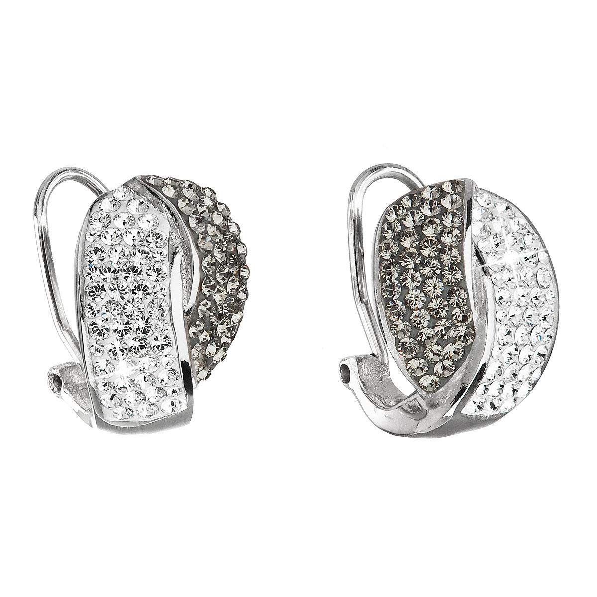 Evolution Group Stříbrné náušnice klipsy s krystaly Swarovski šedý uzel  31194.3 39dc6e13172