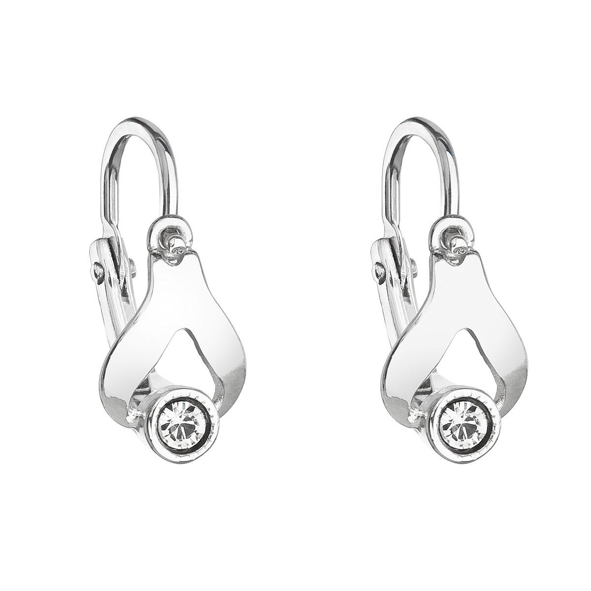Stříbrné dětské náušnice visací s krystaly Swarovski bílá slza 31198.1