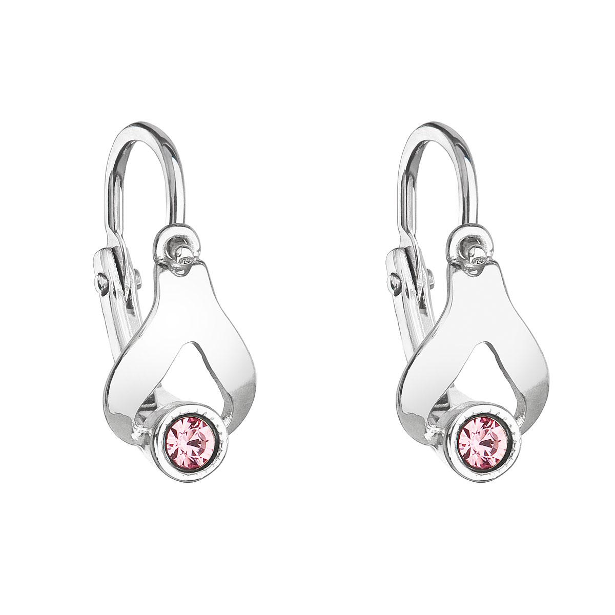 Stříbrné dětské náušnice visací s krystaly Swarovski růžová slza 31198.3
