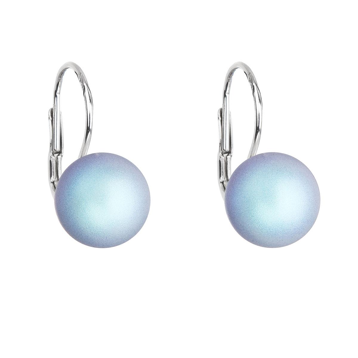 Evolution Group Stříbrné náušnice visací se světlemodrou matnou perlou 31143.3