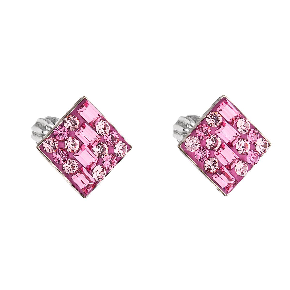 Stříbrné náušnice pecka s krystaly Swarovski růžový kosočtverec 31169.3 rose