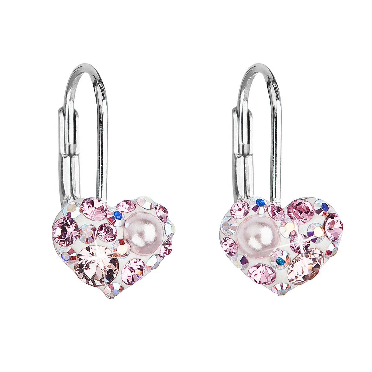 Evolution Group Stříbrné náušnice visací s krystaly Swarovski růžové srdce 31125.9