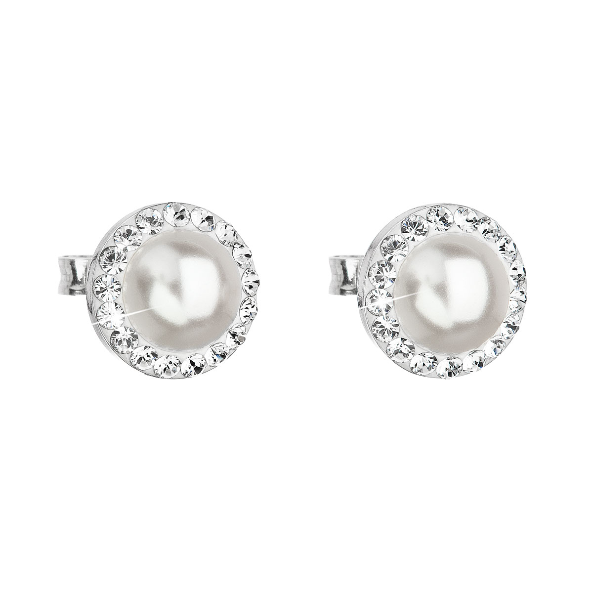 Evolution Group Stříbrné náušnice pecka s krystaly Swarovski a bílou perlou kulaté 31214.1