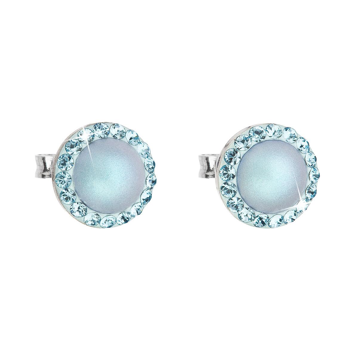 Evolution Group Stříbrné náušnice pecka s krystaly Swarovski a světlemodrou matnou perlou kulaté 31214.3