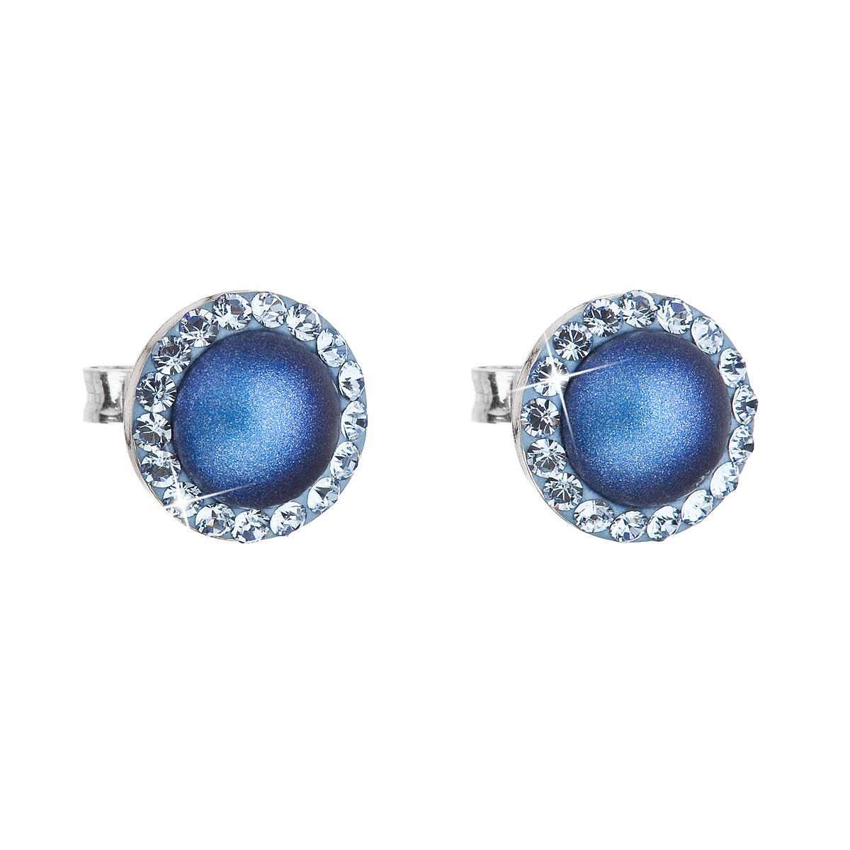 Evolution Group Stříbrné náušnice pecka s krystaly Swarovski a tmavěmodrou matnou perlou kulaté 31214.3