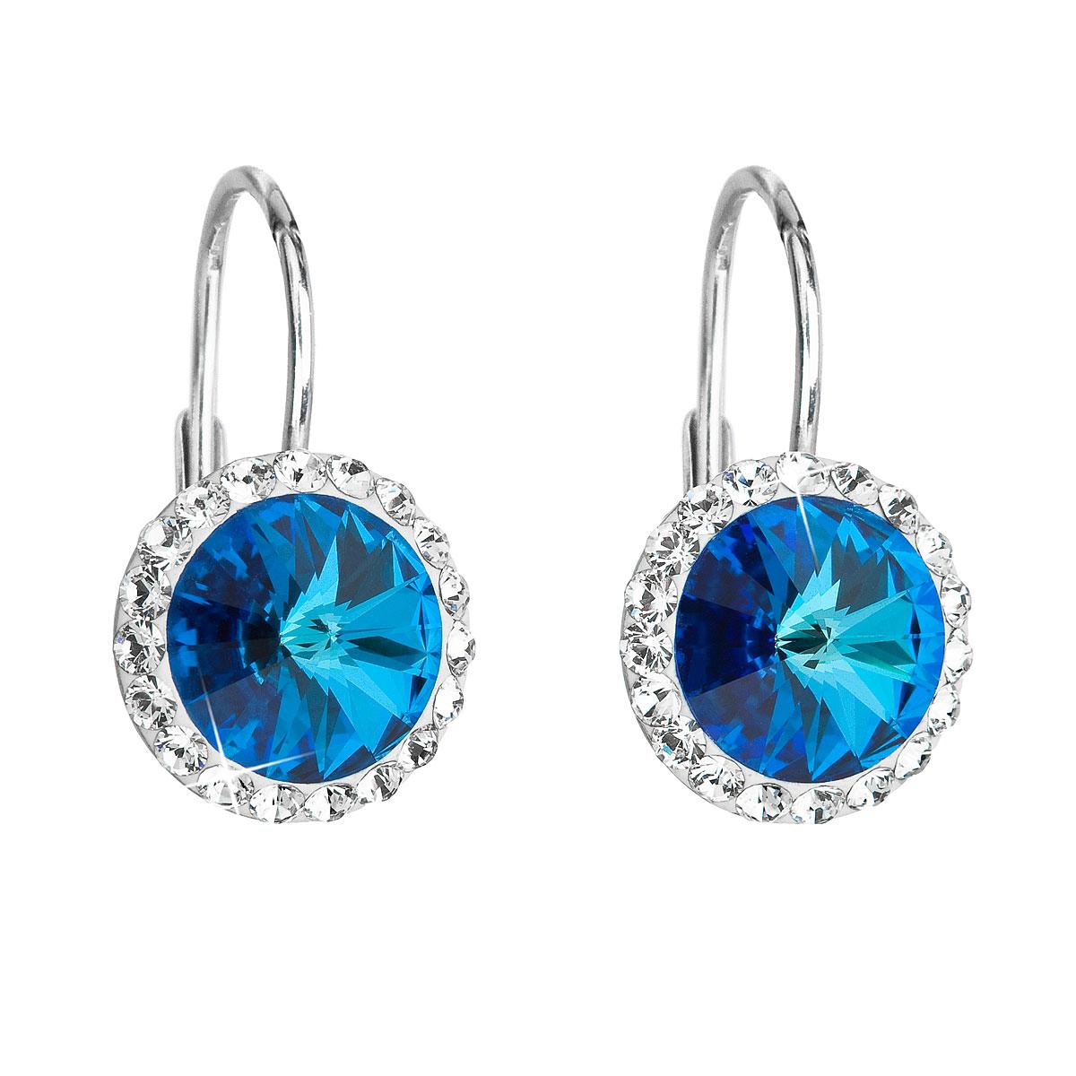 Stříbrné náušnice visací s krystaly Swarovski modré kulaté 31216.5