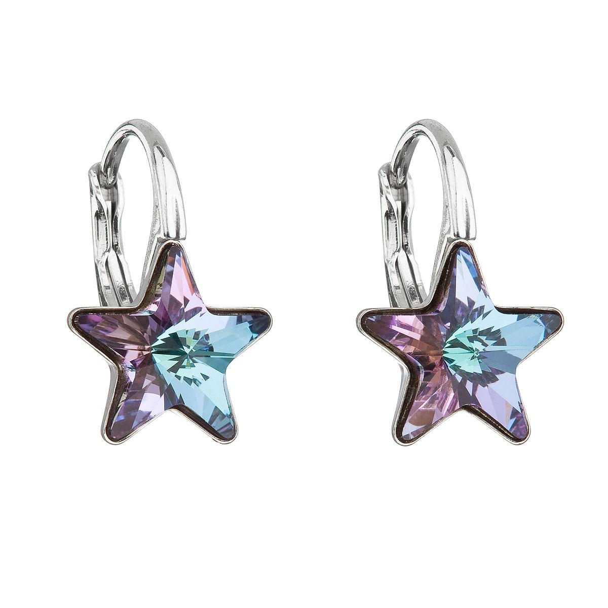 Evolution Group Stříbrné náušnice visací s krystaly Swarovski fialová hvězdička 31227.5