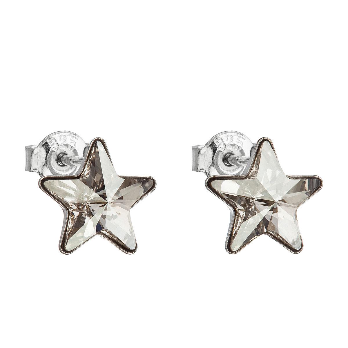 Stříbrné náušnice pecky s krystaly Swarovski šedá hvězdička 31228.5