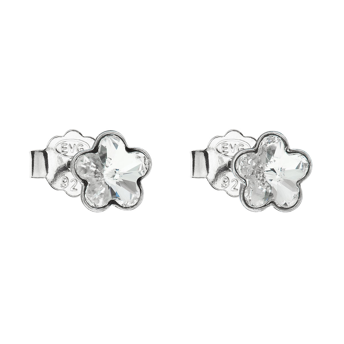 Stříbrné náušnice pecka s krystaly Swarovski bílá kytička 31080.1