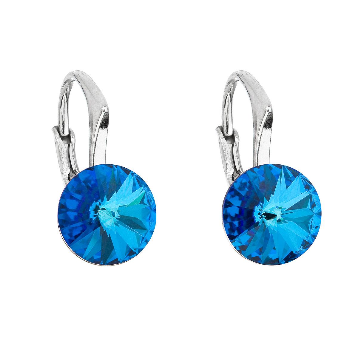 Evolution Group Stříbrné náušnice visací s krystaly Swarovski modré kulaté 31229.5