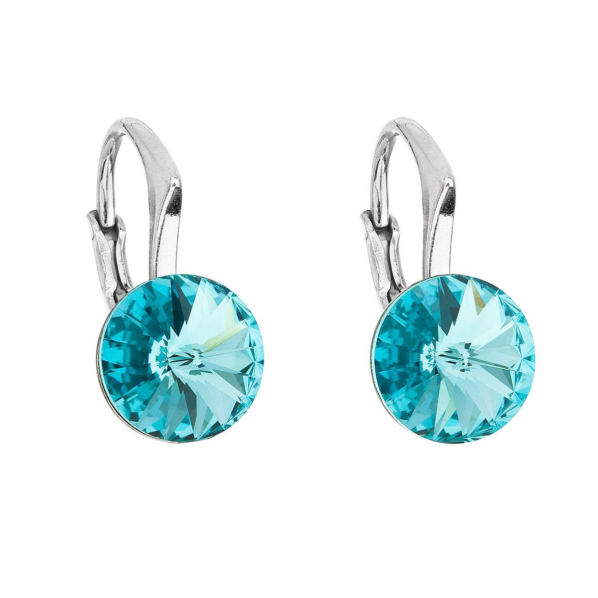 Evolution Group Stříbrné náušnice visací s krystaly Swarovski modré kulaté 31229.3 light turquoise