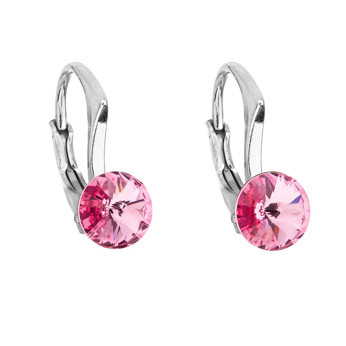 Evolution Group Stříbrné náušnice visací s krystaly Swarovski růžové kulaté 31230.3