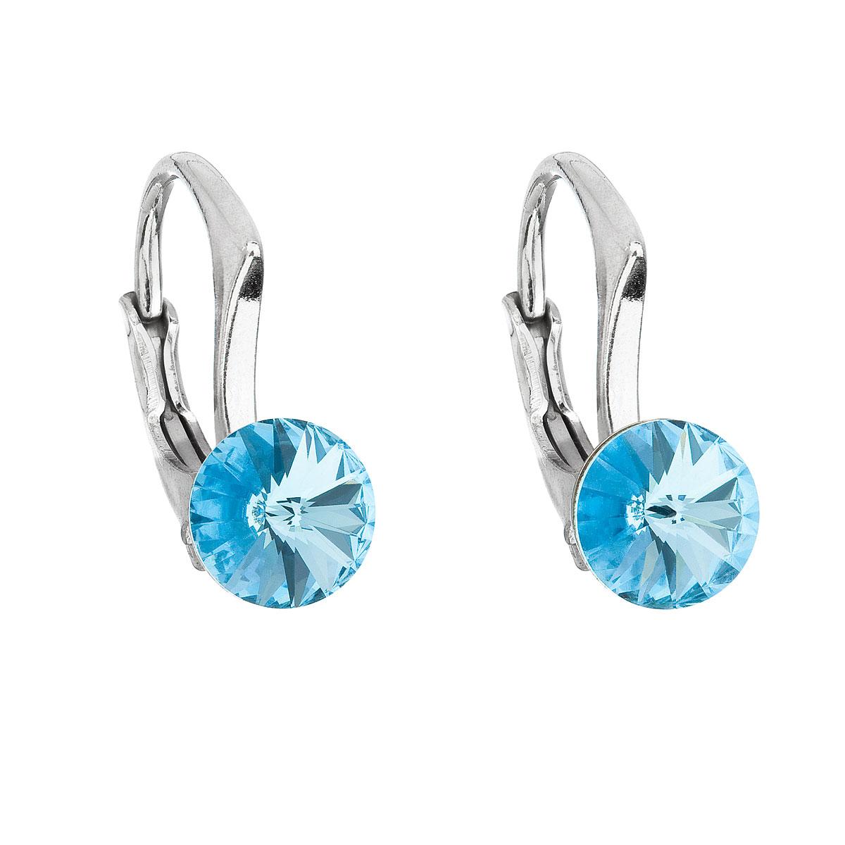 Evolution Group Stříbrné náušnice visací s krystaly Swarovski modré kulaté 31230.3 aquamarine