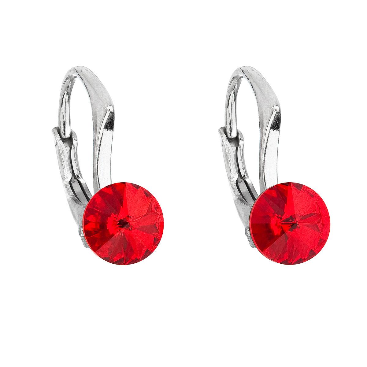 Evolution Group Stříbrné náušnice visací s krystaly Swarovski červené kulaté 31230.3