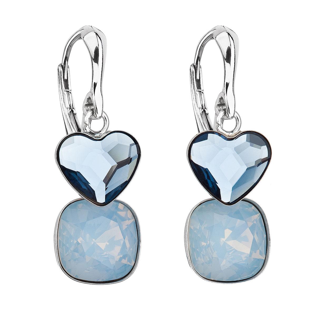 Evolution Group Stříbrné náušnice visací s krystaly Swarovski modré srdce 31234.3