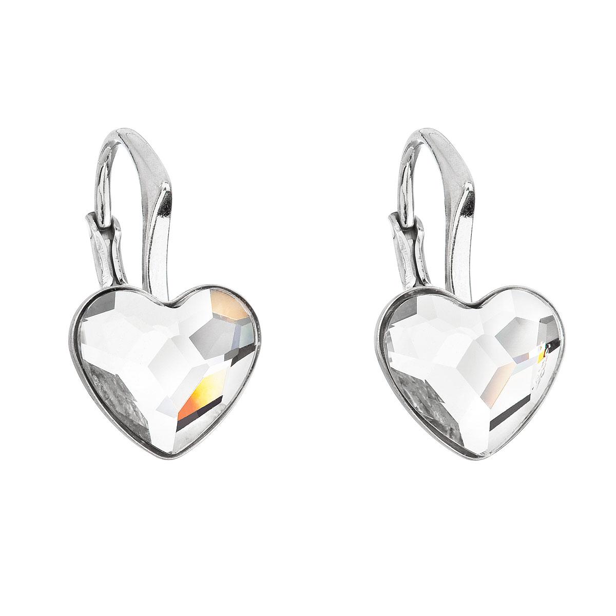 Evolution Group Stříbrné náušnice visací s krystaly Swarovski bílé srdce 31240.1
