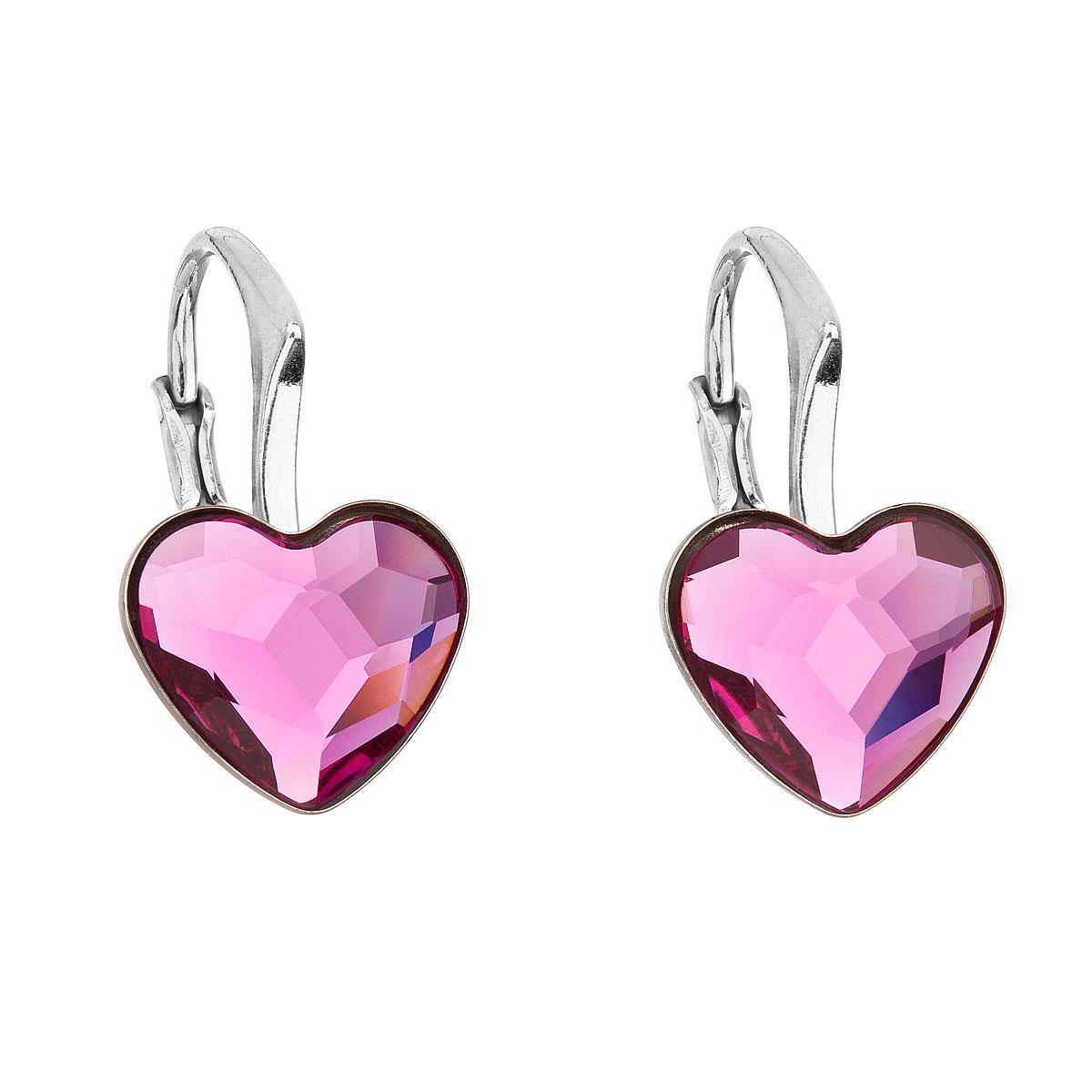 Evolution Group Stříbrné náušnice visací s krystaly Swarovski růžové srdce 31240.3 fuchsia