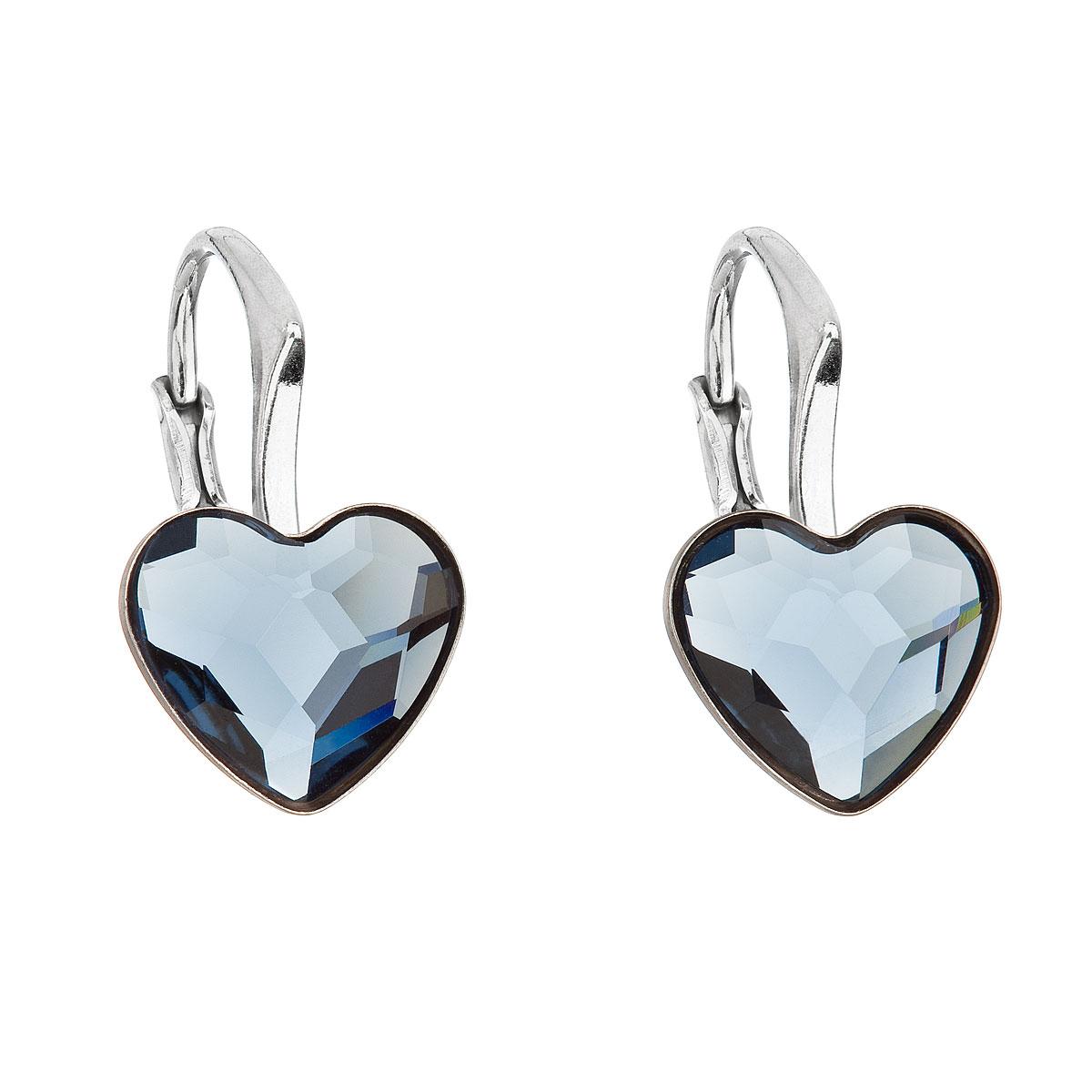 Evolution Group Stříbrné náušnice visací s krystaly Swarovski modré srdce 31240.3