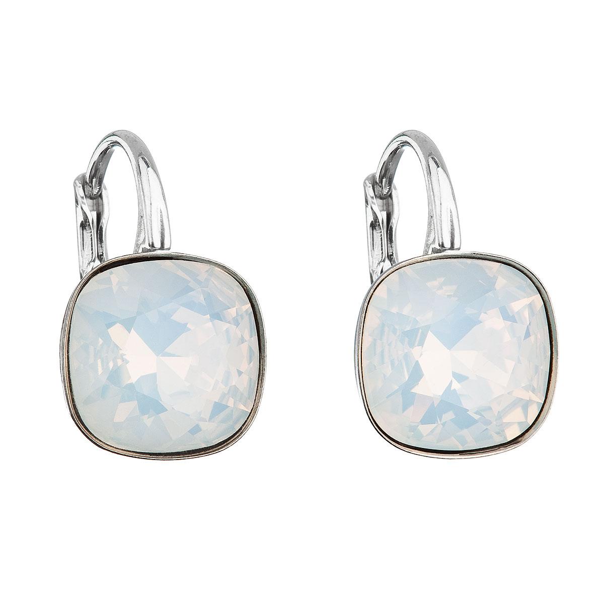 Stříbrné náušnice visací s krystaly Swarovski bílý čtverec 31241.7 white opal