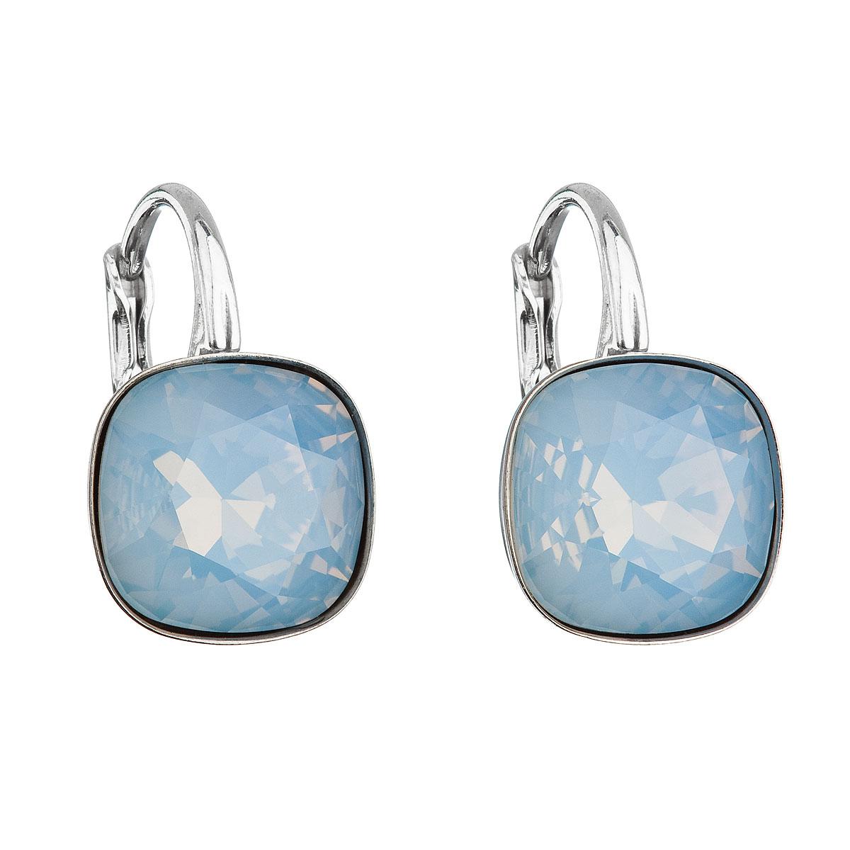 Evolution Group Stříbrné náušnice visací s krystaly Swarovski modrý čtverec 31241.7 blue opal, dárkové balení