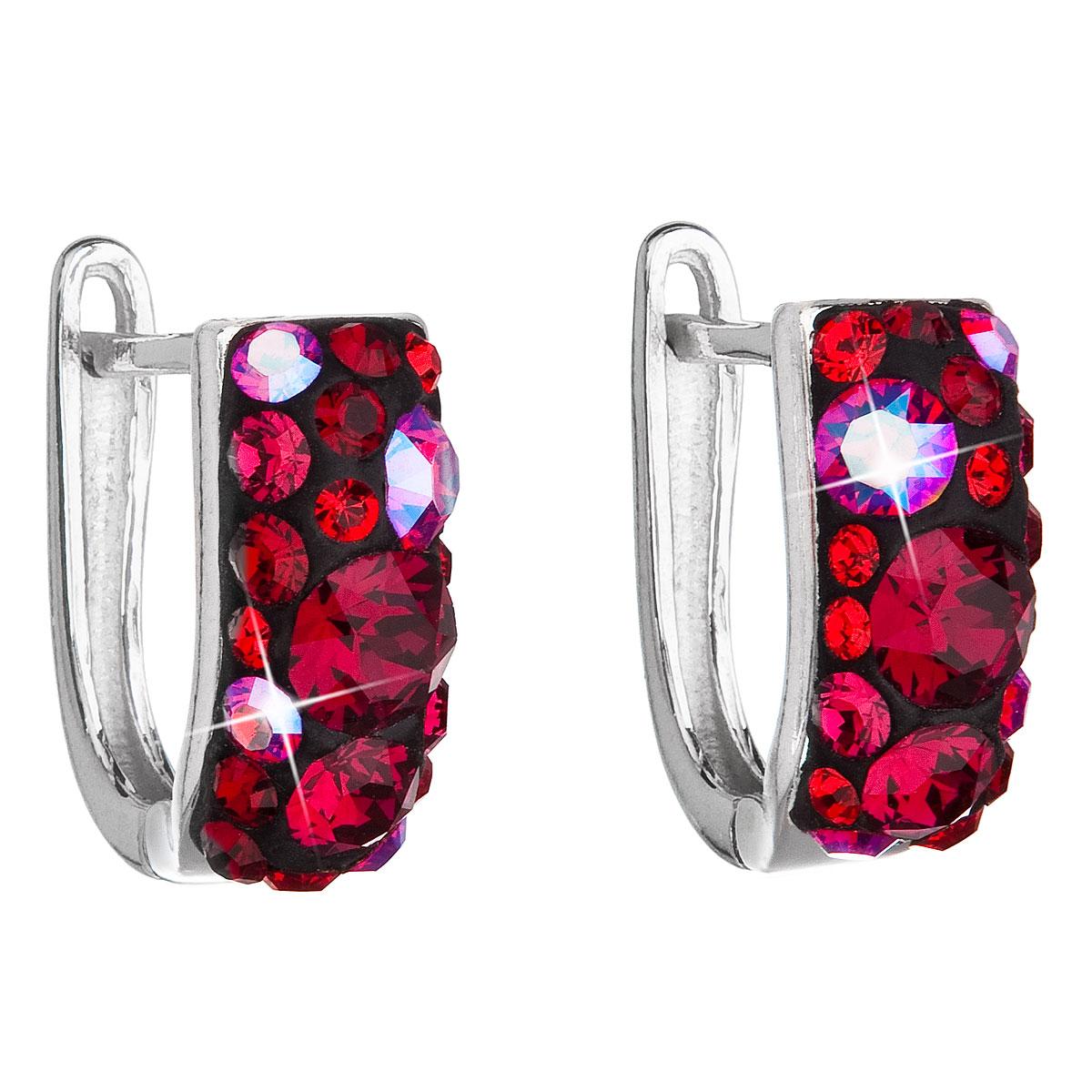 Evolution Group Stříbrné náušnice visací s krystaly Swarovski červený půlkruh 31123.3 cherry