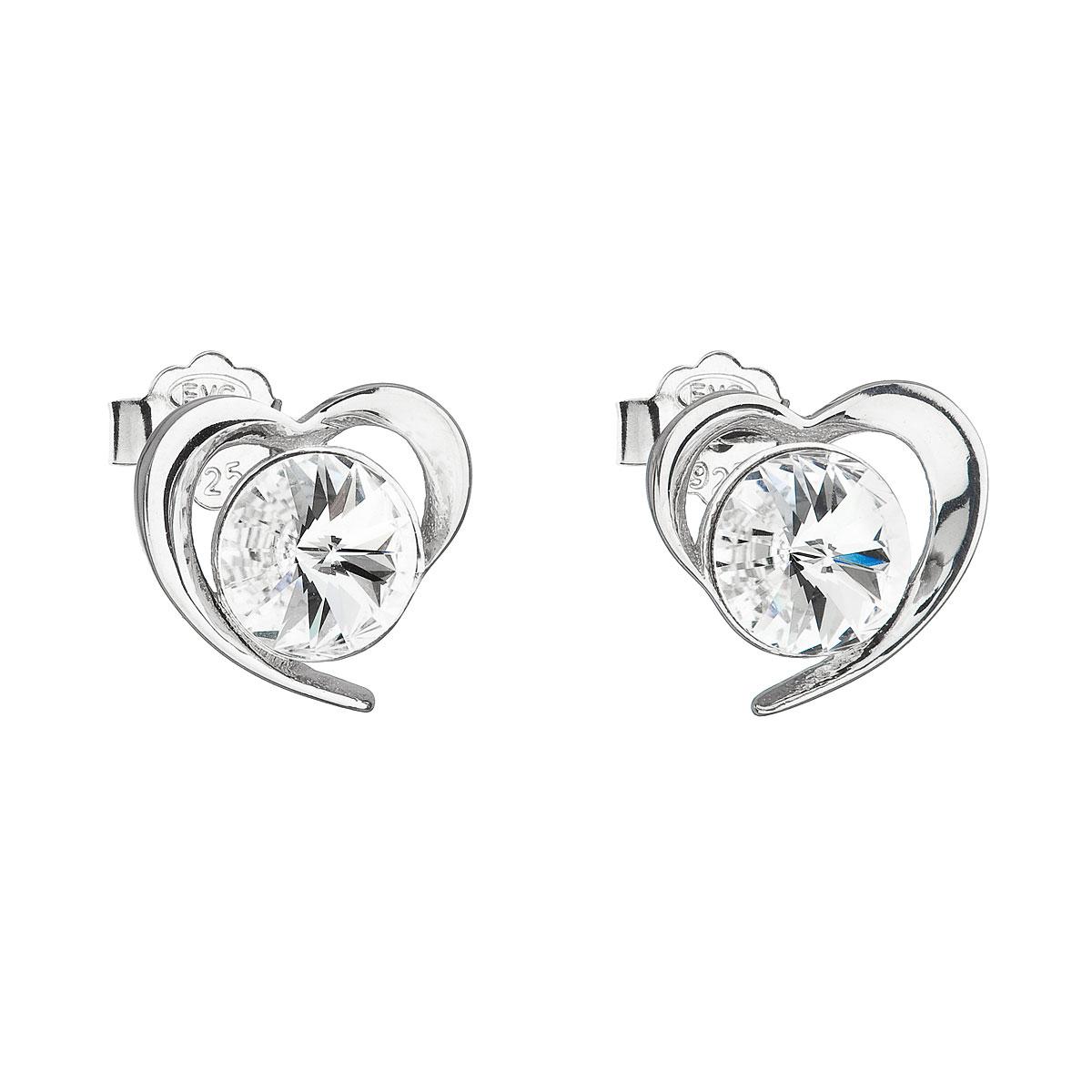 Evolution Group Stříbrné náušnice pecka s krystaly Swarovski bílé srdce 31259.1