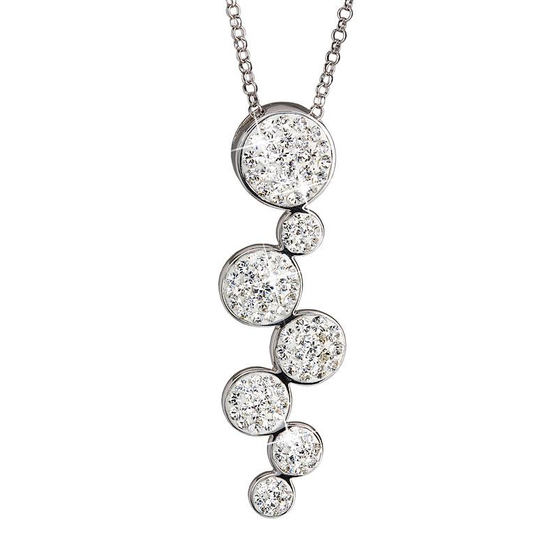 Evolution Group Stříbrný náhrdelník s krystaly bílé kruhy 32801.1