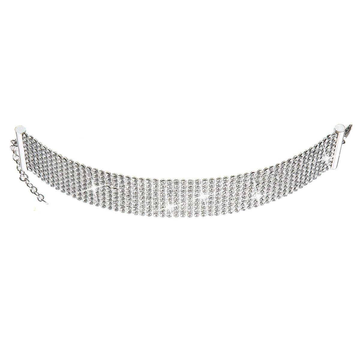 Stříbrný náhrdelník se Swarovski krystaly bílý 32004.1