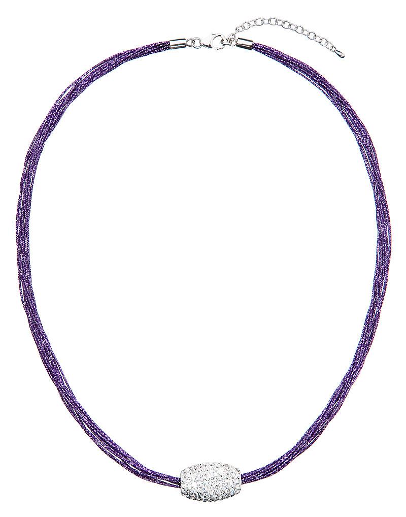 Nádrdelník s krystaly fialovo-bílý 32014.3